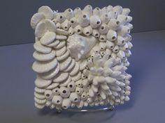 Ceramic Florida Keys Coral Reef wall sculpture, conch shell in barnacles, beach art, reef sculpture, ocean art, anemone, shells, art tile