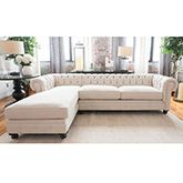 Elements Fine Home Furnishings Estate Fabric Sectional Seashell Right Arm Facing Loveseat & Left Arm Facing Chaise
