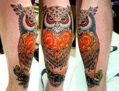 beautiful colors- owl tattoo