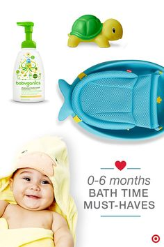 Bath time is the perfect moment to prepare Baby for bedtime, as well as create a routine time to bond with your babe. Add all the bathing must-haves to your Baby Registry, so when it's bath time, you'll have everything within easy reach. What you'll need is a baby tub, temperature-sensing toy, baby wash, towel, diaper, wipes and change of clothes or pajamas. Enjoy!