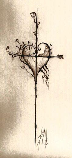 Heart/Cross/Rose/Arrow...tattoo idea, LOVE it!