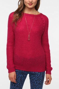 old school 80's - BDG Cable Knit Raglan Sweater