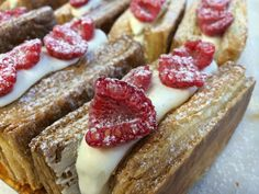 Raspberry vanilla napoleon... The puff pastry is freshly made in-house.  Very flaky!  The house-made vanilla bean custard cream is smooth and velvety.