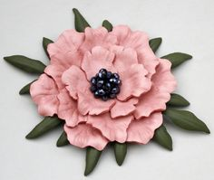 Pink leather flower pin, flower poppy pin with crystal beads and olive green…