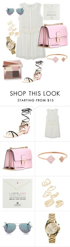 """""""Untitled #947"""" by aagyekumwaa ❤ liked on Polyvore featuring Sophia Webster, MANGO, Dolce&Gabbana, Michael Kors, Dogeared, Topshop, Cutler and Gross and Bobbi Brown Cosmetics"""