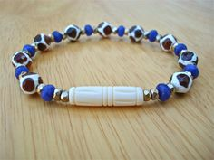 Spiritual Meditation and Healing Bracelet with Semi Precious Cobalt Chalcedony, Tibetan Fire Agates in Amber, Faceted Hematites, Carved Bone