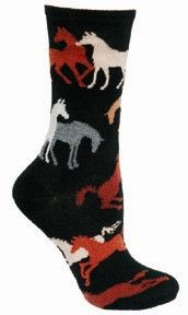 """""""Crazy horse girl"""" is a pretty strong term… but hey, if the sock fits? Let these colorful horse silhouettes send your fashion sense in a gallant leap. This cool pair is sure to go well with riding boo"""