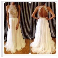 white prom dress, long prom dress, 2016 prom dress, chiffon prom dress, cheap…