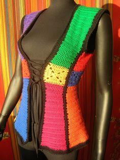 Stained Glass Shaped Granny Squares Vintage Crochet Vest #crochet #vest…