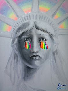 Liberty, the rainbow tears of the statue,acrylics on canvas painting