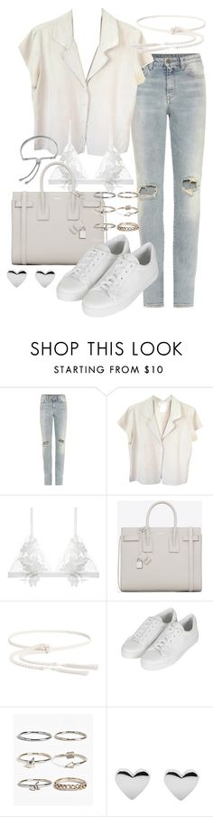 """""""Untitled #19704"""" by florencia95 ❤ liked on Polyvore featuring Yves Saint Laurent, agnès b., For Love & Lemons, FUZZI, Topshop, Boohoo and Monica Vinader"""