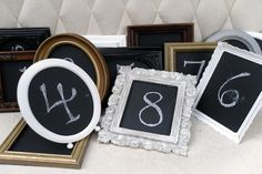 "Fun ""up-cycle"" table numbers. Love chalkboard paint!"