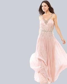 $71.05 Chiffon Ruffle Beading V Neck Floor Length Prom Dress #fashion #prom #dress