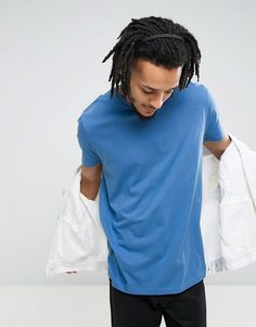 ASOS Longline T-Shirt With Crew Neck In Blue - Blue