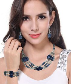 kendra scott jewelry ads | Pearlz Ocean Sonata Sodalite Gemstone Beads Three- Piece Necklace Set ...