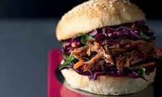 Slow-cooked Asian pulled pork with ginger, five spice and soy and spicy slaw. Lorraine Pascale