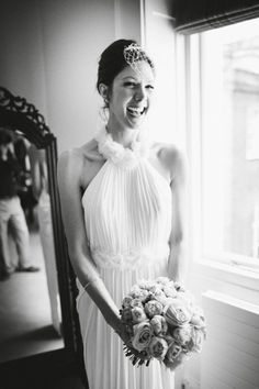 David Fielden wedding dress and The Kooples blazer    Photography by David Jenkins.