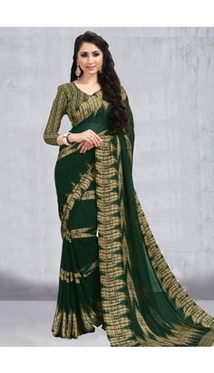 Green Faux Georgette Saree With Satin Blouse - DMV11758