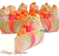 A wonderful tropical blend of sweet mangos mixed with zesty clementines, juicy red raspberries, blended with sweet creamy vanilla. So dreamy! This soap bar is layers of creamy white, lime green, zesty