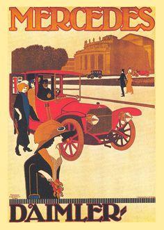 Mercedes Daimler - Vintage Poster, Advertising, Retro Vintage Poster, Car Poster, Auto Poster, Oldtimer, Giclee Wall Art Print