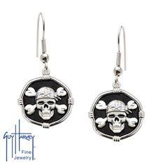 Guy Harvey Sterling Silver Pirate Earrings #guyharvey #earrings #jewelry