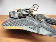 Model of the conceptual space fighter STINGBAT author's work from Peps Spaceship Art, Spaceship Concept, Concept Ships, Star Wars Spaceships, Sci Fi Spaceships, Star Wars Rpg, Star Wars Ships, Space Fighter, Fantasy Model