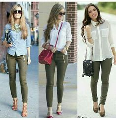 to Always Look Stylish Impressive outfit ideas with olive green jeans Komplette Outfits, Casual Work Outfits, Work Attire, Fall Outfits, Fashion Outfits, Womens Fashion, Summer Work Outfits Office, Summer Business Casual Outfits, Summer Office