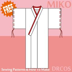 Kimono Costume - Free Japanese Cosplay Sewing Pattern! You can learn to sew Japanese patterns at www.japanesesewingpatterns.com