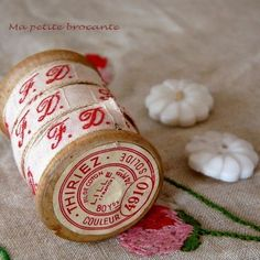 French red and white initial laundry tape.