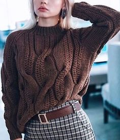 Cable knit oversized sweater chunky knitwear pullover urban look hand knit wool sweater autumn fashion casual clothing cozy sweater – Artofit Casual Sweaters, Cozy Sweaters, Sweaters For Women, Cable Sweater, Cable Knit, Handgestrickte Pullover, Winter Mode, Hand Knitted Sweaters, Knit Fashion