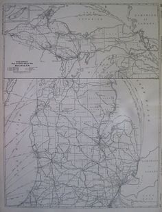 1927 RARE Size MICHIGAN Map Black and White Mileage Map Gallery Wall Art 2049
