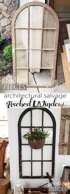 From a curbside find to perfect architectural salvage decor, this arched window is made new. Perfect of farmhouse style decor by Larissa of Prodigal Pieces | prodigalpieces.com #prodigalpieces #homedecor #diy #farmhouse