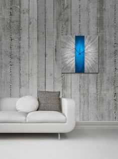 Modern Wall Clock Decor - 'Blue Stripe Clock' 22x22 in. - Contemporary Blue Wall Clock - Large Metal