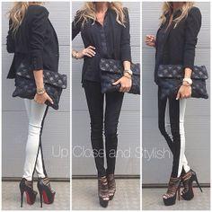 .@upcloseandstylish | Black  White - last nights dress code. #Rag_Bone top and suede/denim pa... | Webstagram - the best Instagram viewer