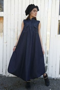 Denim Long Maxi Dress - METD0002 We are so proud to present this mix of styles - it looks amazing! The kaftan form is made with a new touch of jean fabric and the result is great. The two front pockets and the accent here. This dress is very suitable for the spring and summer season
