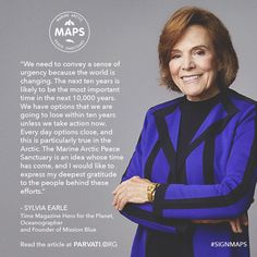 """The renowned oceanographer Dr. Sylvia Earle, founder of Mission Blue, has added her support to the Marine Arctic Peace Sanctuary (MAPS)! """"The next ten years is likely to be the most important time in the next 10,000 years.... Every day options close, and this is particularly true in the Arctic. The Marine Arctic Peace Sanctuary is an idea whose time has come, and I would like to express my deepest gratitude to the people behind these efforts.""""  Please click through to read more on…"""