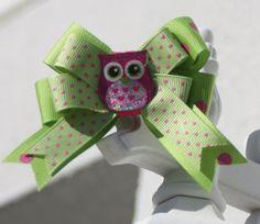 Owl Hair Bow Polka Dot Classic Bow Bow with Owl by bowsforme, $6.00