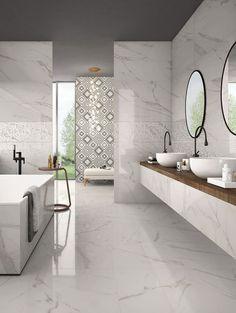 Panaria - News Bathroom Inspiration, Marble Bathroom Designs, Marble Tile Bathroom, Bathroom Interior Design, Bathroom Decor, Interior, Dream Bathrooms, Bathroom Design Decor, Modern Bathroom Design