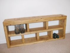 Shoe Rack, Hall Bench, Storage Seat, Handmade, Solid Chunky Rustic Pine, Wood in Home, Furniture & DIY, Furniture, Benches | eBay
