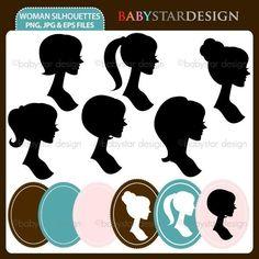 Woman Silhouettes Clip Art Set. $5.00, via Etsy.