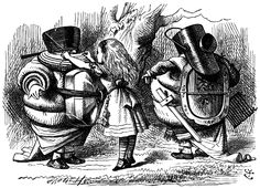 """'Let's fight till six, and then have dinner,' said Tweedledum."" – Through the Looking Glass by Lewis Carroll. Illustration by John Tenniel."