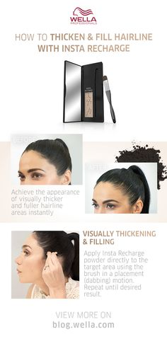 Giving your hair the appearance of being thicker and fuller has never been easier than with our new root concealer, Insta Recharge. Not only can you apply it by yourself, but you can also do so on the go, without there being any mess or dry time! Root Touch Up, Cover Gray, Hair Tutorials, Hairline, Concealer, Your Hair, Coloring, How To Apply, Hair Beauty