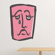 Sad Abstract Face Sketch Emoticons Online Chat Removable Wall Sticker Art Decals Mural DIY Wallpaper for Room Decal Sad Wallpaper, Face Sketch, Abstract Faces, Removable Wall Stickers, Sad Faces, Wall Decor, Wall Art, Emoticon, Decals