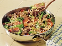 Ramen Stir-Fry. We add the noodles after the veggies have cooked for a little or they get overcooked. Of course our veggies are usually frozen. Also we use 1 1/2 cups of water