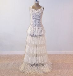 The most beautiful vintage wedding dress from the '30s ... has a 23 inch waist! What 13 year old wants this for her wedding? ;-) lace wedding gowns, 1930s lace, wedding dressses, full skirts, 30s dress, vintage weddings, evening gowns, the dress, vintage wedding dresses