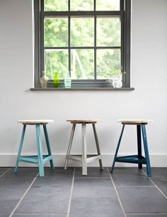 These Rustic circus-style wooden stools with bright coloured metal legs would look fabulous around a dining table or just dotted around the house. Mix and match for an eclectic industrial feel - we think they look amazing with a recycled wood table. They all have the words 'Have a seat' printed on the top in a quirky old-style typeface.