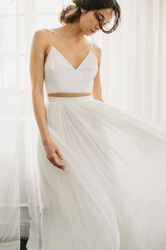 Separates from Alexandra Grecco: a flowing skirt and crop top.