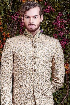 shopping spot for everyone from bride-to-be to young-at-heart for buying casual, formal, wedding wear, designer wear and fusion wear for women and men. Mens Indian Wear, Indian Groom Wear, Sherwani Groom, Wedding Sherwani, Jodhpur, Manish, Men's Grooming, Dress Designs, Indian Weddings