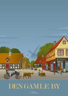 Den gamle by i Aarhus plakat Aarhus, All Poster, Movie Posters, Family Roots, Travel Illustration, Vintage Travel Posters, Copenhagen, Scandinavian, 1