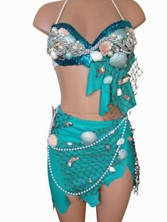Sea Mermaid Inspire Rave Top & Bottom Rave Costume by LipglossWear Mermaid Halloween Costumes, Rave Costumes, Festival Costumes, Diy Costumes, Costumes For Women, Homemade Mermaid Costumes, Teen Costumes, Woman Costumes, Couple Costumes